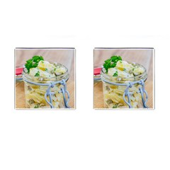 Potato Salad In A Jar On Wooden Cufflinks (square)