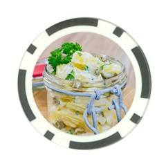 Potato salad in a jar on wooden Poker Chip Card Guards