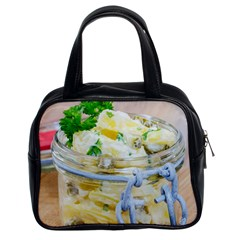 Potato salad in a jar on wooden Classic Handbags (2 Sides)