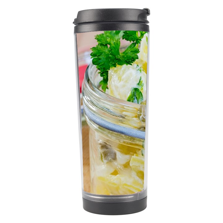 Potato salad in a jar on wooden Travel Tumbler