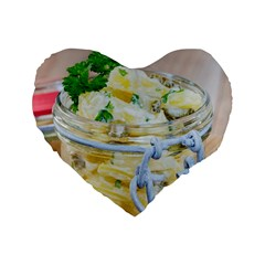 Potato Salad In A Jar On Wooden Standard 16  Premium Flano Heart Shape Cushions by wsfcow