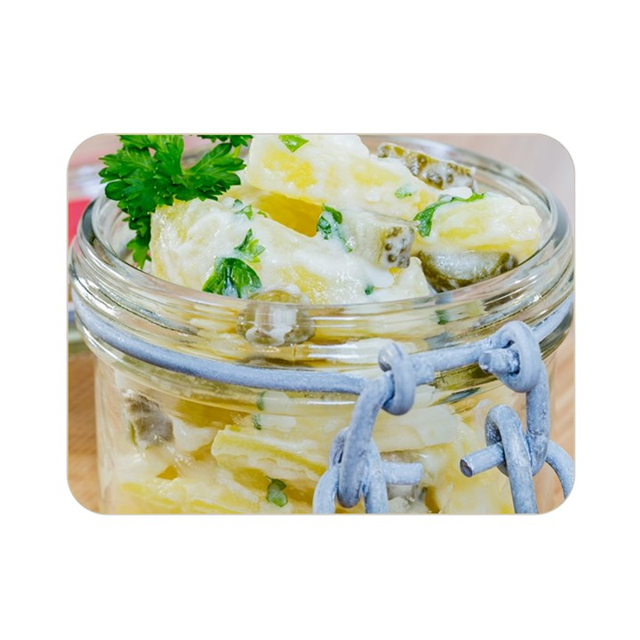 Potato salad in a jar on wooden Double Sided Flano Blanket (Mini)