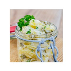 Potato salad in a jar on wooden Small Satin Scarf (Square)