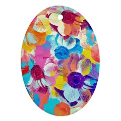 Anemones Oval Ornament (two Sides) by DanaeStudio