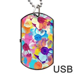 Anemones Dog Tag Usb Flash (two Sides)