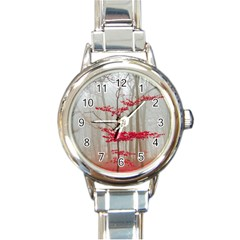 Magic forest in red and white Round Italian Charm Watch