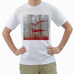 Magic forest in red and white Men s T-Shirt (White) (Two Sided)