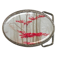 Magic forest in red and white Belt Buckles
