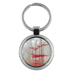 Magic Forest In Red And White Key Chains (round)  by wsfcow