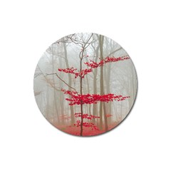 Magic forest in red and white Magnet 3  (Round)