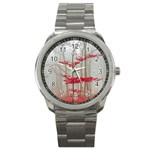 Magic forest in red and white Sport Metal Watch Front