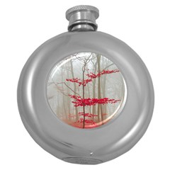 Magic forest in red and white Round Hip Flask (5 oz)