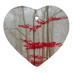 Magic Forest In Red And White Heart Ornament (2 Sides) by wsfcow