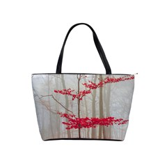 Magic forest in red and white Shoulder Handbags