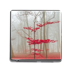 Magic Forest In Red And White Memory Card Reader (square) by wsfcow