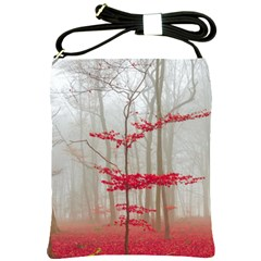 Magic Forest In Red And White Shoulder Sling Bags by wsfcow