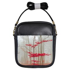 Magic forest in red and white Girls Sling Bags