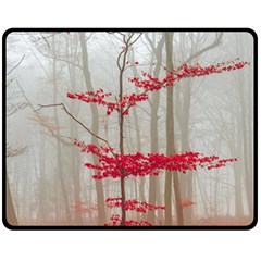 Magic Forest In Red And White Fleece Blanket (medium)  by wsfcow