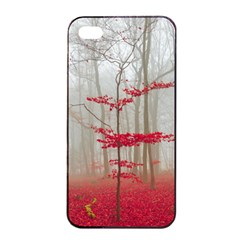 Magic Forest In Red And White Apple Iphone 4/4s Seamless Case (black) by wsfcow