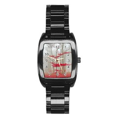 Magic forest in red and white Stainless Steel Barrel Watch