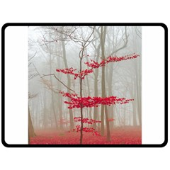 Magic forest in red and white Double Sided Fleece Blanket (Large)