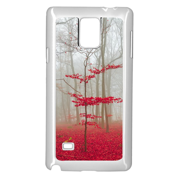 Magic forest in red and white Samsung Galaxy Note 4 Case (White)