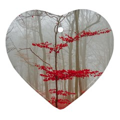 Magic Forest In Red And White Ornament (heart)  by wsfcow