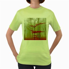 Magic Forest In Red And White Women s Green T-Shirt