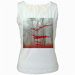 Magic Forest In Red And White Women s White Tank Top by wsfcow