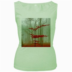 Magic Forest In Red And White Women s Green Tank Top by wsfcow