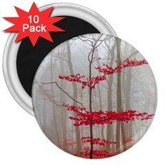 Magic Forest In Red And White 3  Magnets (10 Pack)  by wsfcow