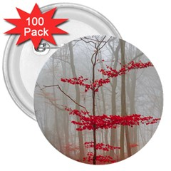 Magic Forest In Red And White 3  Buttons (100 Pack)  by wsfcow