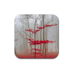 Magic Forest In Red And White Rubber Square Coaster (4 Pack)