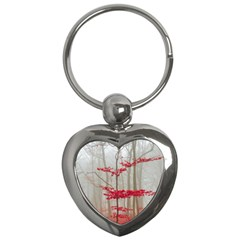 Magic Forest In Red And White Key Chains (heart)  by wsfcow