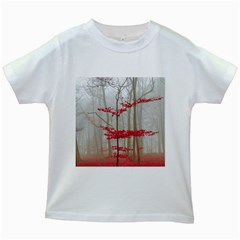 Magic Forest In Red And White Kids White T Shirts by wsfcow