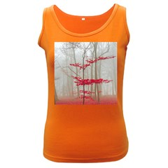 Magic Forest In Red And White Women s Dark Tank Top