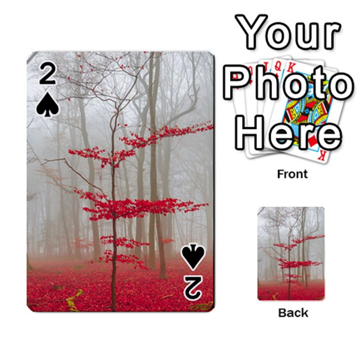 Magic Forest In Red And White Playing Cards 54 Designs