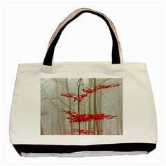 Magic Forest In Red And White Basic Tote Bag