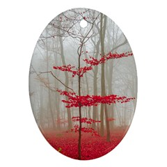 Magic Forest In Red And White Oval Ornament (two Sides) by wsfcow