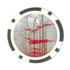 Magic Forest In Red And White Poker Chip Card Guards