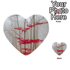 Magic Forest In Red And White Multi Purpose Cards (heart)  by wsfcow