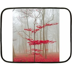 Magic Forest In Red And White Fleece Blanket (mini) by wsfcow