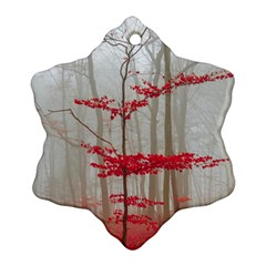 Magic Forest In Red And White Ornament (snowflake)  by wsfcow