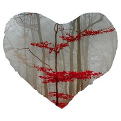 Magic Forest In Red And White Large 19  Premium Flano Heart Shape Cushions by wsfcow