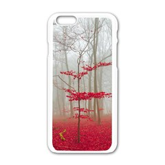 Magic Forest In Red And White Apple iPhone 6/6S White Enamel Case