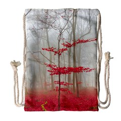Magic Forest In Red And White Drawstring Bag (large) by wsfcow