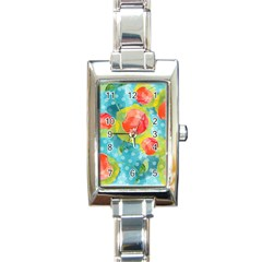 Red Cherries Rectangle Italian Charm Watch by DanaeStudio