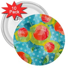 Red Cherries 3  Buttons (10 Pack)
