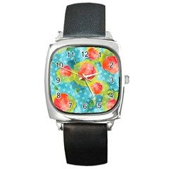 Red Cherries Square Metal Watch