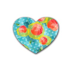 Red Cherries Rubber Coaster (heart)  by DanaeStudio